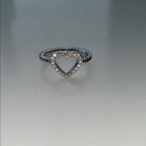 David Yurman Cable Heart Ring w/ Diamonds s/s